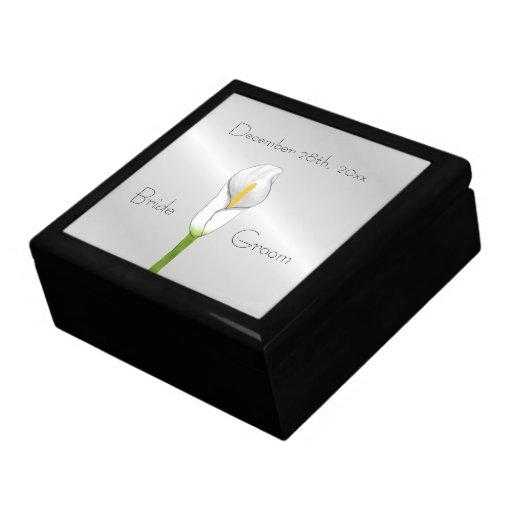 Caja del recuerdo del lirio de Cally del art déco Joyero Cuadrado Grande