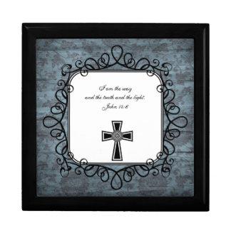 Caja del recuerdo del verso de la biblia del 14:6  joyero cuadrado grande