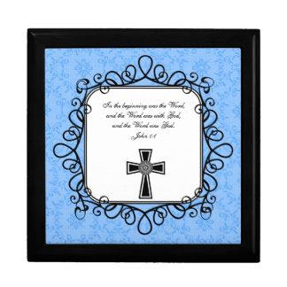 Caja del recuerdo del verso de la biblia del 1:1 d joyero cuadrado grande