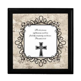 Caja del recuerdo del verso de la biblia del 21:21 joyero cuadrado grande