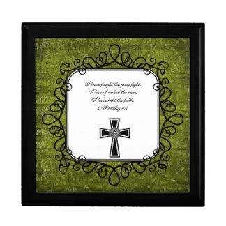 Caja del recuerdo del verso de la biblia del 4:7 d joyero cuadrado grande