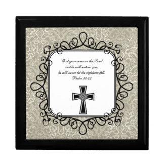 Caja del recuerdo del verso de la biblia del 55:22 joyero cuadrado grande