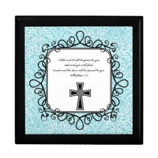 Caja del recuerdo del verso de la biblia del 7:7 d joyero cuadrado grande