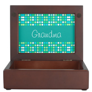 Caja del recuerdo para la abuela, círculos colorid cajas de recuerdos