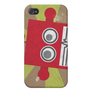 Caja del robot en rojo iPhone 4 cárcasa