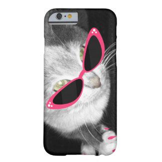 Caja del teléfono 5 de las gafas de sol i del gato funda de iPhone 6 barely there
