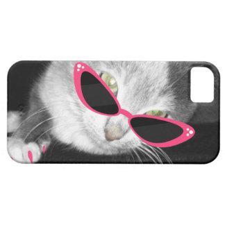 Caja del teléfono 5 de las gafas de sol i del gato funda para iPhone SE/5/5s
