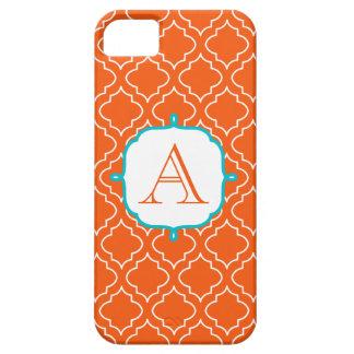 Caja del teléfono 5 del monograma de la mandarina iPhone 5 Case-Mate carcasa