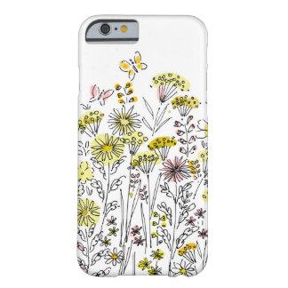 caja del teléfono 6 con las mariposas y las flores funda de iPhone 6 barely there
