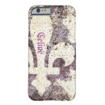 Caja del teléfono de la flor de lis del Grunge Funda De iPhone 6 Barely There