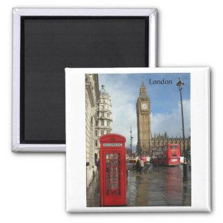 Caja del teléfono de Londres Big Ben (por St.K) Imán Cuadrado