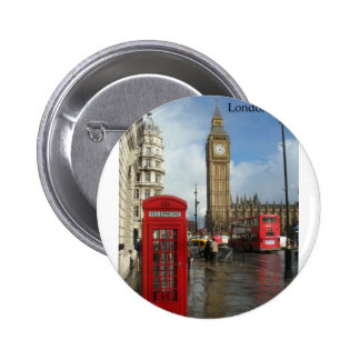 Caja del teléfono de Londres Big Ben (por St.K) Pin Redondo 5 Cm