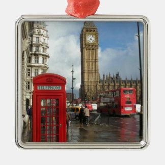 Caja del teléfono de Londres y Big Ben (St.K) Adorno Navideño Cuadrado De Metal