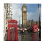 Caja del teléfono de Londres y Big Ben (St.K) Azulejos Cerámicos