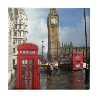 Caja del teléfono de Londres y Big Ben (St.K) Azulejo Cuadrado Pequeño