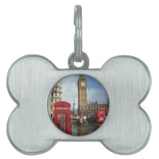 Caja del teléfono de Londres y Big Ben (St.K) Placa De Mascota