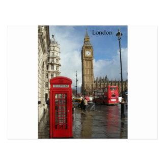 Caja del teléfono de Londres y Big Ben (St.K) Tarjeta Postal