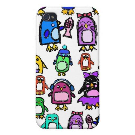 caja del teléfono de los pingüinos iPhone 4 protectores