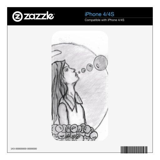 Caja del teléfono del chica de la burbuja iPhone 4S calcomanía