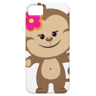 Caja del teléfono del iPhone 5 del mono de Brown iPhone 5 Protectores
