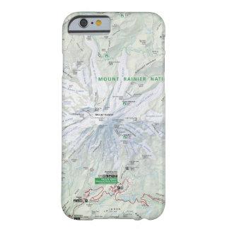 Caja del teléfono del mapa del Monte Rainier Funda Para iPhone 6 Barely There