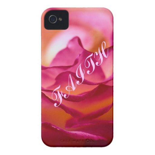 Caja del teléfono del pétalo color de rosa iPhone 4 protectores