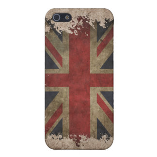 Caja del teléfono del vintage con la bandera BRITÁ iPhone 5 Fundas