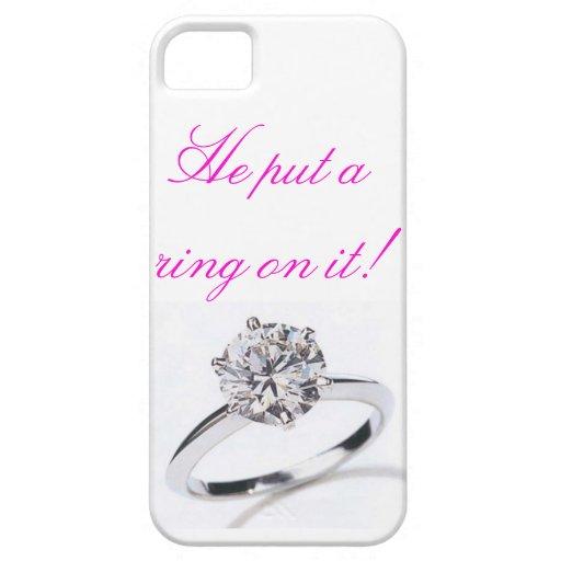 ¡caja del teléfono iphone5 'él puso un anillo en iPhone 5 funda