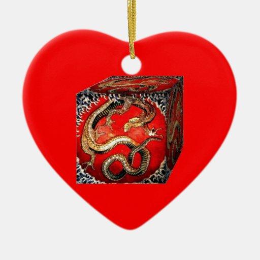 Caja del tesoro del dragón por los sharles adorno de cerámica en forma de corazón