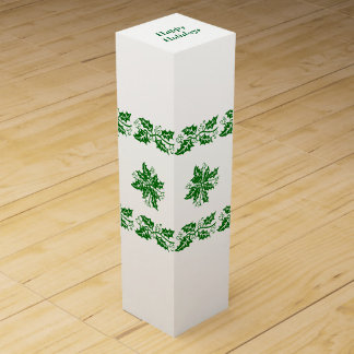 Caja del vino - ramas verdes del acebo caja para bino