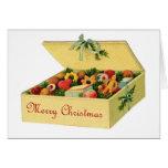 Caja del vintage de galletas Notecard del navidad Tarjeton