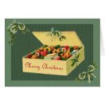 Caja del vintage de galletas Notecard del navidad Felicitacion