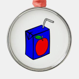 Caja del zumo de manzana adorno redondo plateado