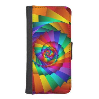 Caja doble de la cartera del espiral del arco iris fundas billetera para teléfono