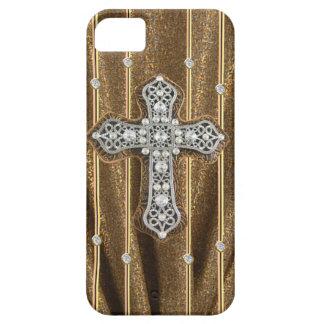 CAJA dorada de los diamantes artificiales y de la iPhone 5 Carcasa