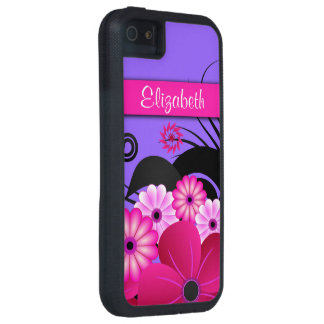 Caja dura floral púrpura rosada fucsia de iPhone5 iPhone 5 Cárcasas