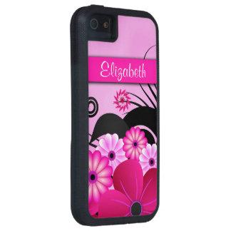 Caja dura floral rosada fucsia del iPhone 5 5S iPhone 5 Case-Mate Funda