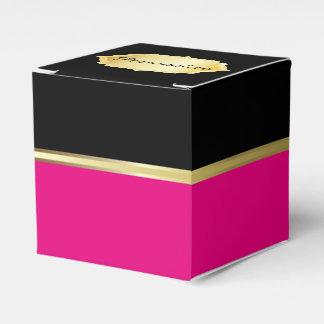 Caja elegante del favor del negro y de las rosas caja para regalo de boda