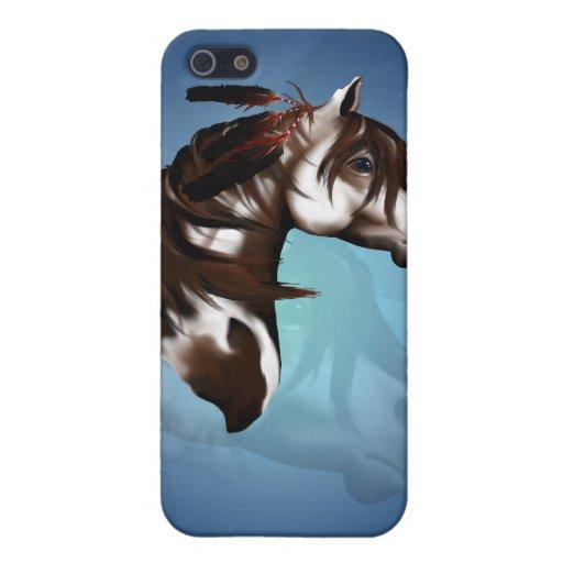 Caja emplumada de la mota del caballo de la pintur iPhone 5 carcasas