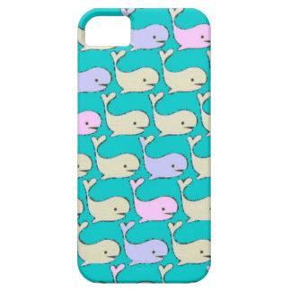Caja en colores pastel de las ballenas funda para iPhone 5 barely there