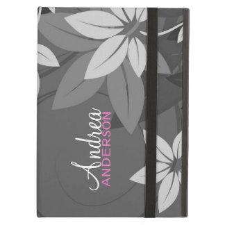 Caja en folio gris floral moderna del iPad