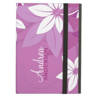 Caja en folio púrpura floral moderna del iPad