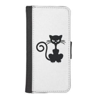 Caja enojada de la cartera del gato funda tipo billetera para iPhone 5