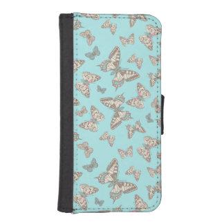 Caja entintada mariposas de la aleta del arte del billetera para teléfono