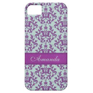 Caja esmeralda púrpura del iphone 5 del damasco bo iPhone 5 Case-Mate funda