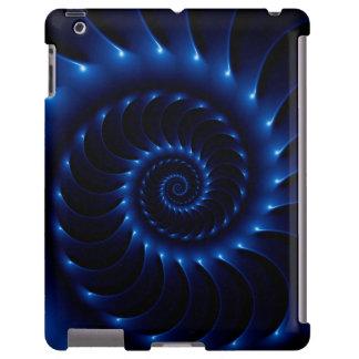 Caja espiral azul brillante del iPad del fractal