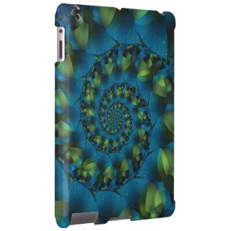 Caja espiral azul y verde del iPad del fractal