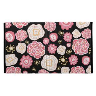 Caja femenina rosada del folio de las flores IPAD