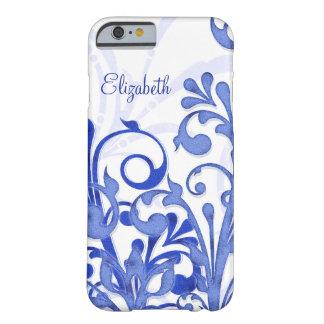 Caja floral abstracta azul y blanca del iPhone 6 Funda De iPhone 6 Barely There