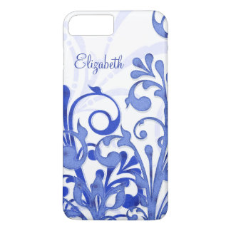 Caja floral abstracta azul y blanca del iPhone 6 Funda iPhone 7 Plus